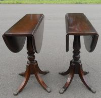 Pair Dropleaf Mahogany Pedestal Coffee Tables by Strongbow